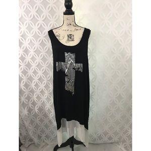 Metallic Cross High Low Sleeveless Tunic Dress